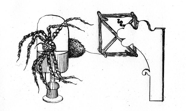 Illustration of a spider silking machine invented, but never used, by Abbé Ramon de Termeyer in the 18th century. Photograph: Eleanor Morgan