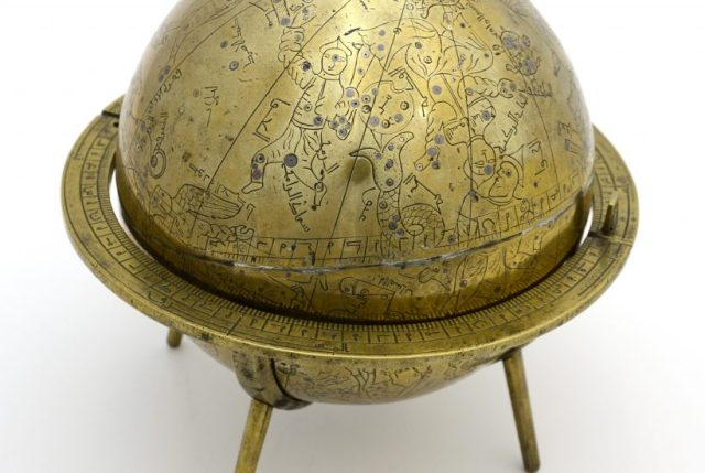Iranian celestial globe (1362-63), brass inlaid with silver