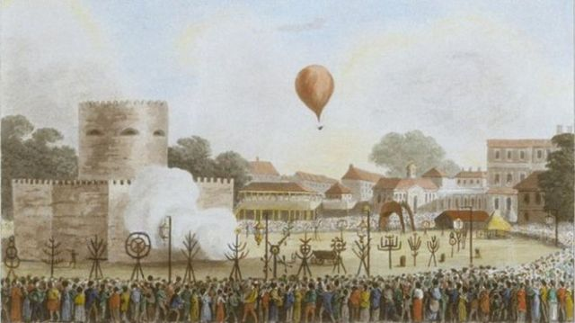 Thousands lined Hyde Park during the 1814 jubilee celebrations to see James Sadler's balloons take off