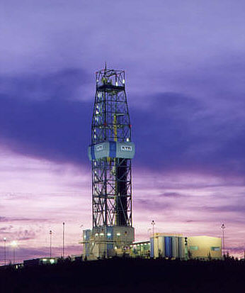 The drill tower of the main borehole at the German Continental Deep Drilling Programme. Image: W.J.Pilsak
