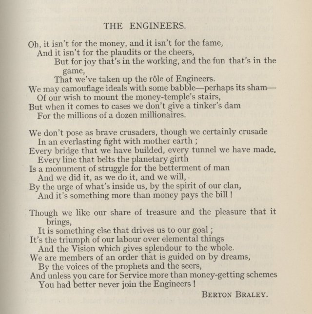 A gem of a poem, 'The Engineers' by American poet Berton Braley, from the journal of the Society of Engineers, 1920 – IET Library Archives