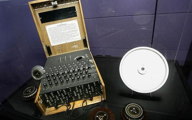 A 1935 Enigma machine, used by Germans to encrypt messages during World War II CREDIT: TONY AVELAR