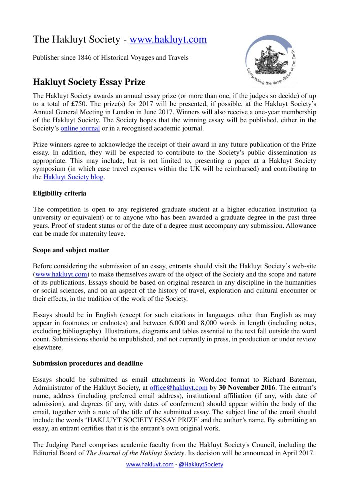 Independence Day Essay In English Hakluyt Society Cfp Hakluyt Society Essay Prize   High School Entrance Essays also Sample Of Proposal Essay Whewells Gazette Year  Vol   Whewells Ghost What Is The Thesis Of An Essay