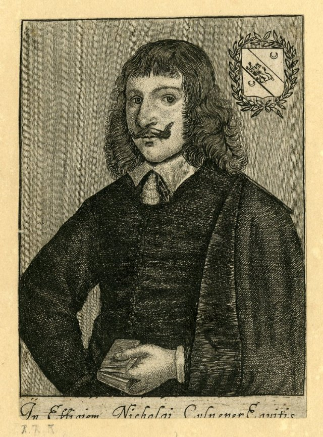 """In Effigiam Nicholai Culpeper Equitis,"" portrait of Nicholas Culpeper, etching, by printmaker Richard Gaywood. Courtesy of the British Museum, London. Source: Wikimedia Commons"