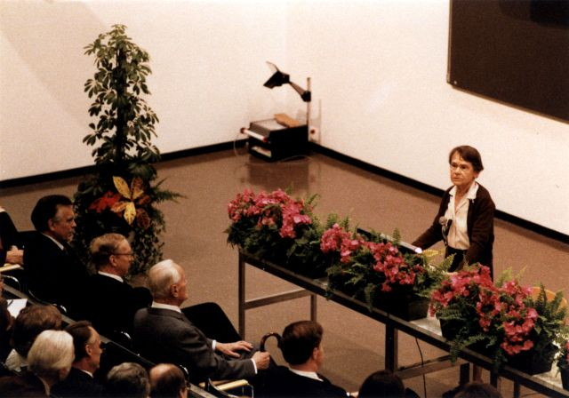 Barbara McClintock giving her Nobel Lecture Source: Wikimedia Commons