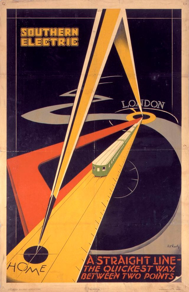 Southern Electric - A Straight Line - the quickest way between two points. Poster designed by Pat Keely in 1931 h/t Flashback.com