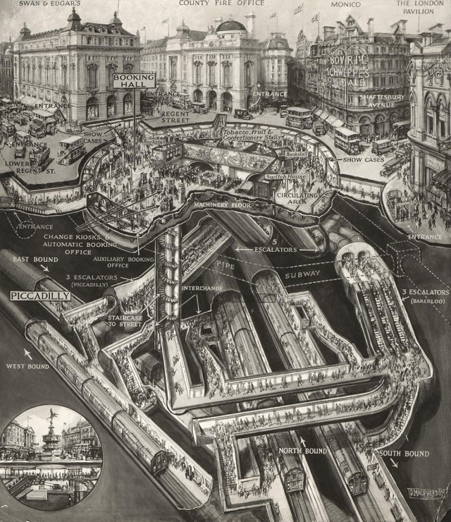 Piccadilly Circus Underground station like you've never seen it before. Sectional drawing, 1928. h/t LT Museum