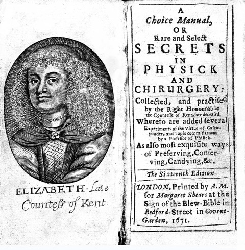 Elizabeth Grey, A Choice Manuall. Frontispiece of 1671 edition.
