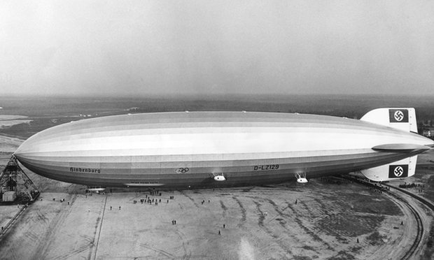 The giant zeppelin Hindenburg, pictured in Lakehurst, New Jersey, was so big that its tail stuck out of the hanger built for it in Santa Cruz, near Rio de Janeiro, Brazil. Photograph: AFP/Getty Images