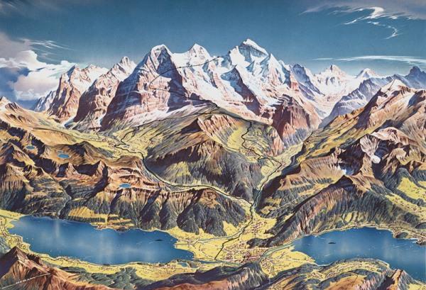 Heinrich Berann, [Jungfraubahn mountain railroad, Switzerland], 1939. British Library Maps 1060.(4.).