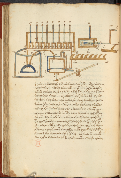 Hydraulic musical organ powered by a hand-pump from Hero's Pneumatika. Burney MS 108, f. 60v. Italy, N. (Venice?), 1st quarter of the 16th century.
