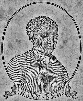 Woodcut portrait of Benjamin Bannaker (Banneker) in title page of a Baltimore edition of his 1795 Pennsylvania, Delaware, Maryland, and Virginia Almanac Source: Wikimedia Commons