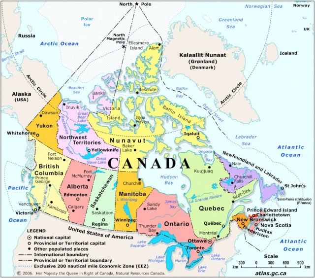 Canada Political Divisions (English), 2006. Natural Resources Canada.
