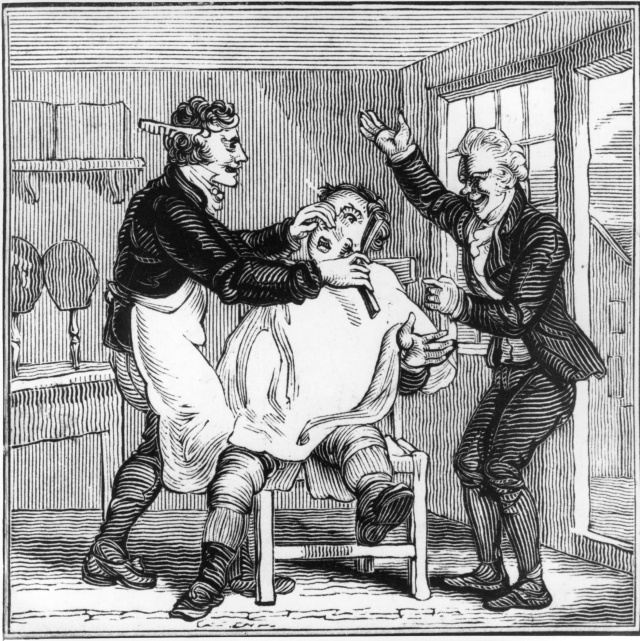 A cartoon depicting a man making fun of another who is being close-shaved, c1800. (Photo by Hulton Archive/Getty Images)