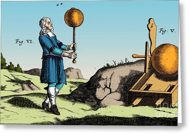 Electric Generator, Otto Von GuerickeEngraving of the first static electricity generator, designed by German scientist Otto von Guericke (1602-1686)