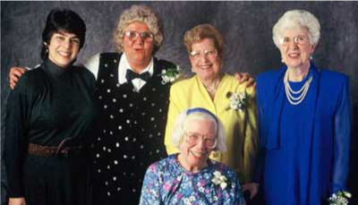 Top, from left to right: Kathy Kleiman, Jean Bartik, Marlyn Meltzer, Kay Antonelli Bottom: Betty Holberton