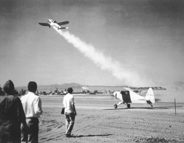 "America's first ""rocket-assisted"" take-off, an ERCO Ercoupe fitted with a GALCIT booster, in 1941, performed at March Field, California Source: Wikimedia Commons"