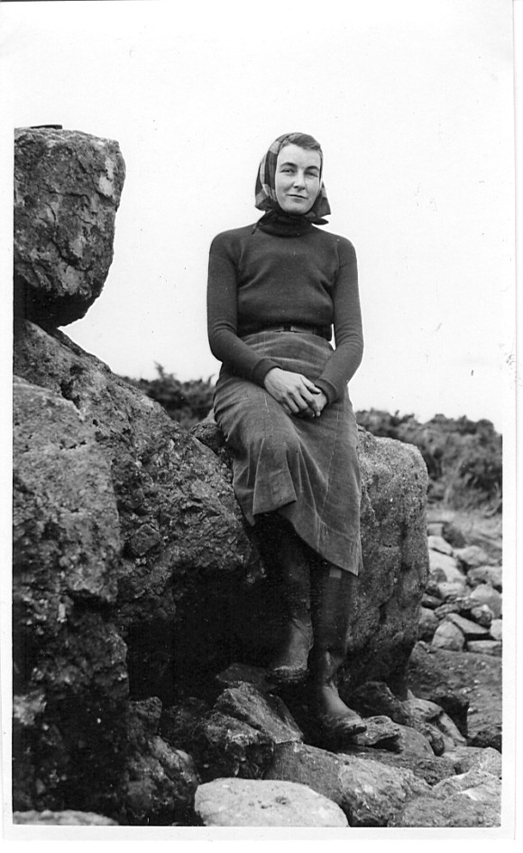 Jacquetta Hawkes, likely shown here at the excavation of Harristown Passage Tomb, County Waterford, Ireland, which she directed in 1939. Photographer unknown. Many thanks to Alison Cullingford, Special Collections Librarian at the University of Bradford, home to the Jacquetta Hawkes Archive, for supplying this photo. She also runs the blog Celebrating Jacquetta Hawkes.