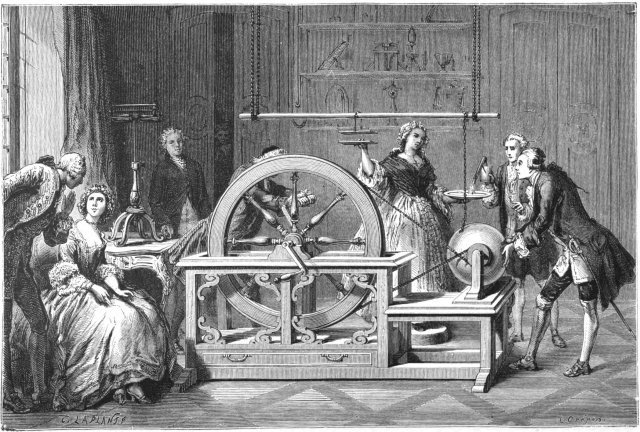 Hawksbees Electrical Machine by Jean-Antoine Nollet Source: Wikimedia Commons