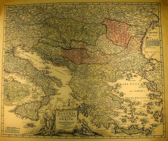 Johann Baptist Homann: Europäische Flußkarte, um 1710 (Reproduktion).