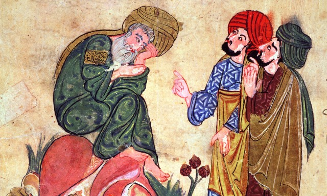 Socrates and his Students, illustration from 'Kitab Mukhtar al-Hikam wa-Mahasin al-Kilam' by Al-Mubashir, Turkish School, (13th c) Photo by Bridgeman