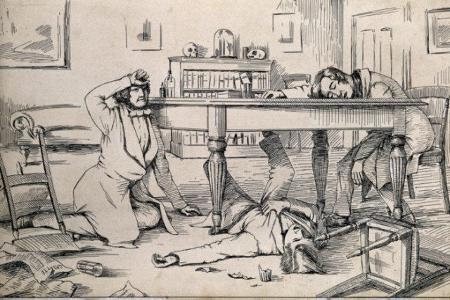 The effects of liquid chloroform on Simpson and his friends. PIC Wellcome Library, London/Creative Commons. Read more at: http://www.scotsman.com/news/the-drug-induced-edinburgh-dinner-parties-that-revolutionised-medicine-1-4280383