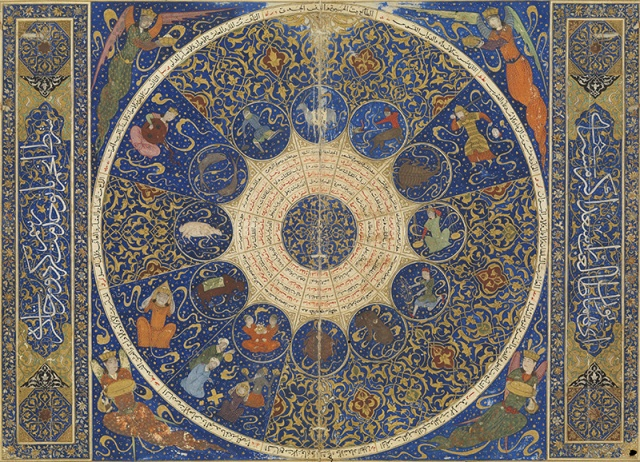 L0071319 Horoscope of Prince Iskandar. Credit: Wellcome Library, London. Wellcome Images images@wellcome.ac.uk http://wellcomeimages.org Horoscope of Prince Iskandar, grandson of Tamerlane, the Turkman Mongol conqueror. This horoscope shows the position of the heavens at the moment of Iskandar's birth on 25th April 1384. This is a fly leaf from the personal horoscope of Iskandar Sultan (died 1415), grandson of Timur, who ruled the province of Farsin, Iran. He is best known for his early military career and his patronage of the arts and sciences. Apart from being a horoscope, this manuscript is an exquisite work of art and an exemplary production of the royal kitabkhana 'publishing house' or 'workshop'. The manuscript of 1411 is lavishly illustrated and reflects the efforts of a whole range of specialists: astronomers (among them Imad ad-Din Mahmud al- Kashi), illuminators, gilders, calligraphers and craftsmen, and specialists in paper-making. The manuscript was bought in Iran in 1794 by John H. Harrington, who had started his career as a clerk in the East India Company. In 1932, it was auctioned at Sotheby's and bought for £6/15d by Sir Henry Wellcome who added it to his collection of Oriental books and manuscripts. 813/1411 Wellcome MS Persian 474 Published: - Copyrighted work available under Creative Commons Attribution only licence CC BY 4.0 http://creativecommons.org/licenses/by/4.0/