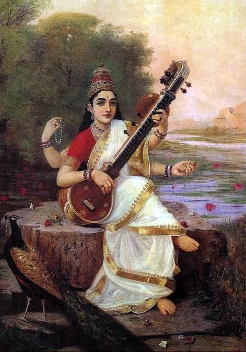 Saraswati – the Indian Goddess of Wisdom, Knowledge, Learning, Music and Arts by Raja Ravi Varma