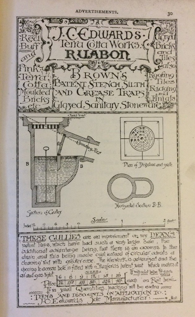 "Interesting ad for ""gullies"" in late C19th asylum construction book ""Stench, silth and grease traps"" (@RCPSGlibrary)"