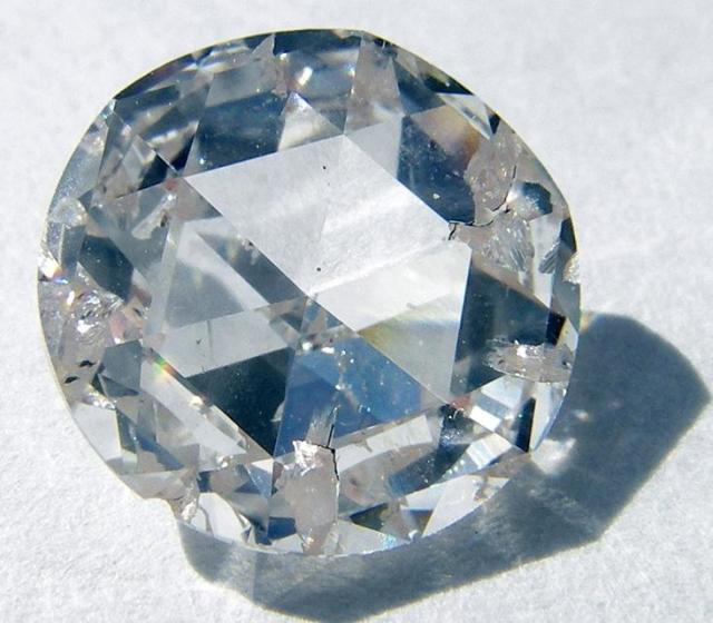 ALL THAT GLITTERS: A rose-cut synthetic diamond created using a chemical vapor deposition process. Source: Wikimedia Commons