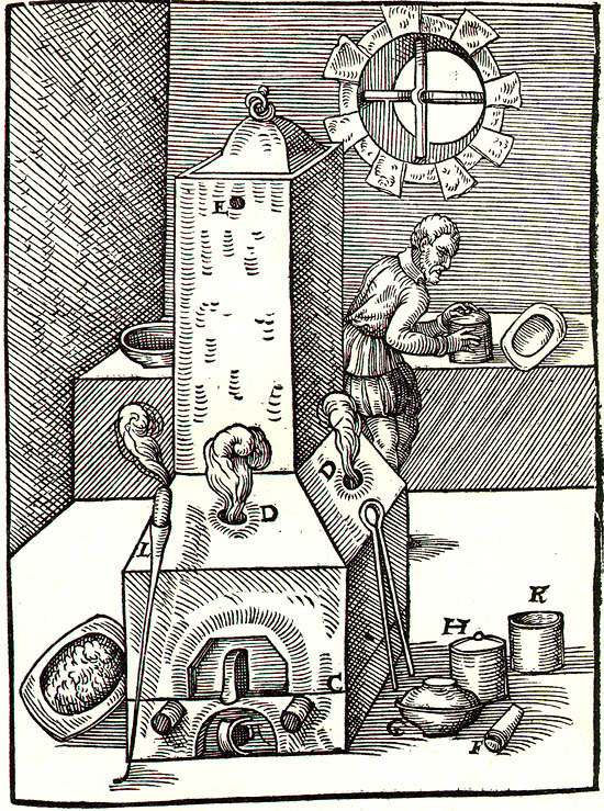 Temporal display of workshop, where precious metals were processed and their quality tested, reproduction of woodcut from 1574