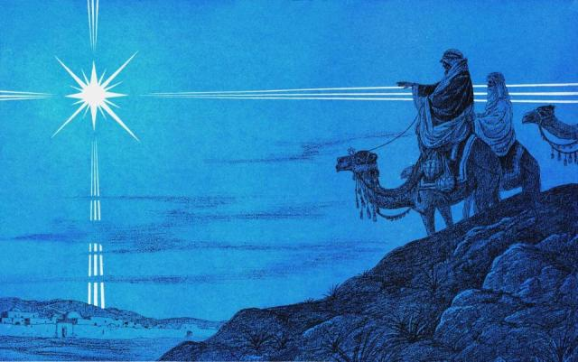 Depiction of three magi and the Star of Bethlehem. Credit: Flickr user Waiting For The Word