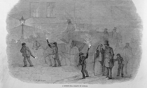The Illustrated London News, Volume 10, 1847. The men and boy carrying lighted torches are acting as guides to the carriage and pedestrians: fogs were often so thick it was impossible to see across a street. Illustration: Wellcome Library, London/Wellcome Library, London. Wellcome Images