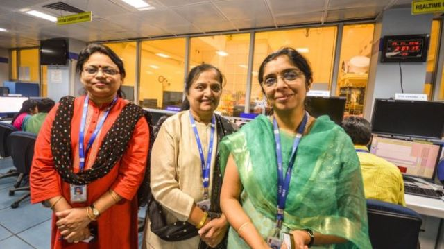India's 'space women' (from left) Ritu Karidhal, Anuradha TK and Nandini Harinath Photo: ASIF SAUD