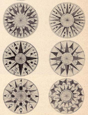 A selection from Llewellyn's many different compass rose centres