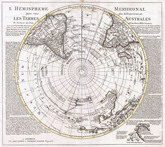 Map of the Southern Hemisphere by Guillaume de L'Isle, 1739 – Bibliophilia (@Libroantiguo)