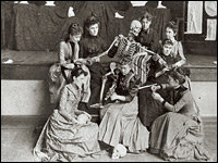 Students pose with a skeleton at Western Female Seminary in Oxford, Ohio. Miami University Libraries