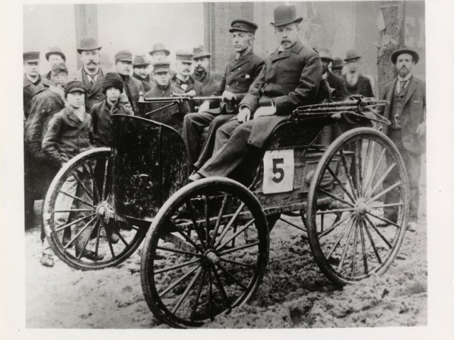 J. Frank Duryea, left, and race umpire Arthur W. White, right, in the 1895 Duryea during the Chicago Times-Herald race, the first automobile race in the U.S. (Courtesy of the National Automotive History Collection, Detroit Public Library) Read more: http://www.smithsonianmag.com/smart-news/model-t-came-duryea-wagon-180961218/#GdIOslif1eOVXTLA.99 Give the gift of Smithsonian magazine for only $12! http://bit.ly/1cGUiGv Follow us: @SmithsonianMag on Twitter