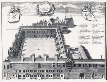 Gresham College, engraving by George Vertue, 1740