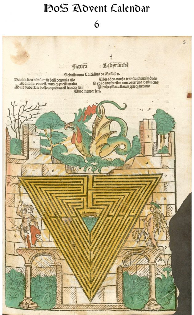 "Johannes Stabius's triangle-shaped labyrinth, one of three labyrinths in his ""Figura Labyrinthi"" published in 1504. This hand-colored version is in the Bayerische Staatsbibliothek, Rar. 786#Beibd.2"