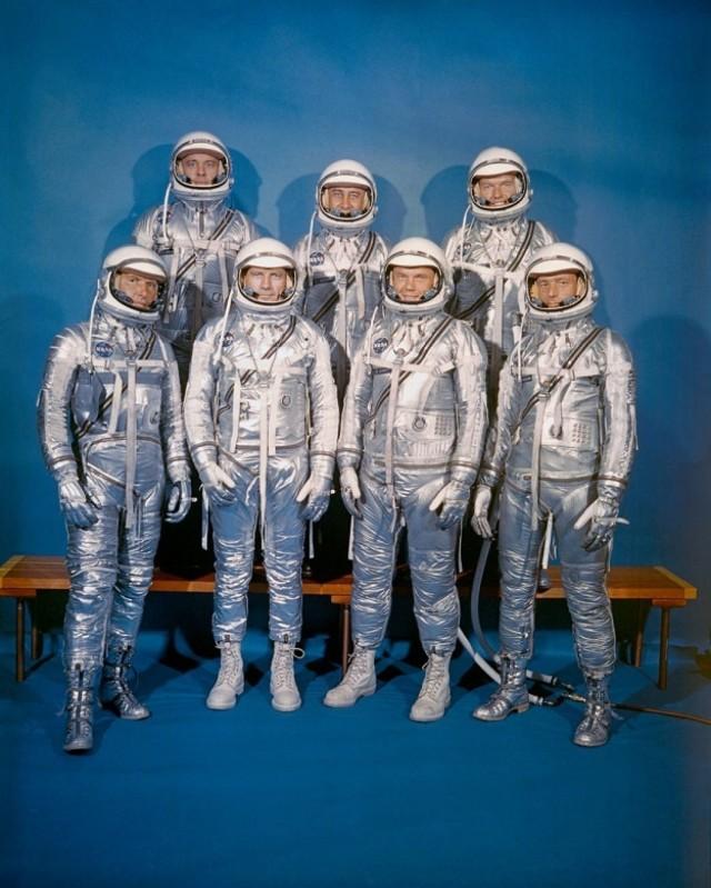 """The Mercury Seven. Front row, from left: Walter M. Schirra Jr., Donald K. """"Deke"""" Slayton, John H. Glenn Jr. and M. Scott Carpenter. Back row: Alan B. Shepard Jr., Virgil I. """"Gus"""" Grissom and L. Gordon Cooper Jr. (NASA)"""