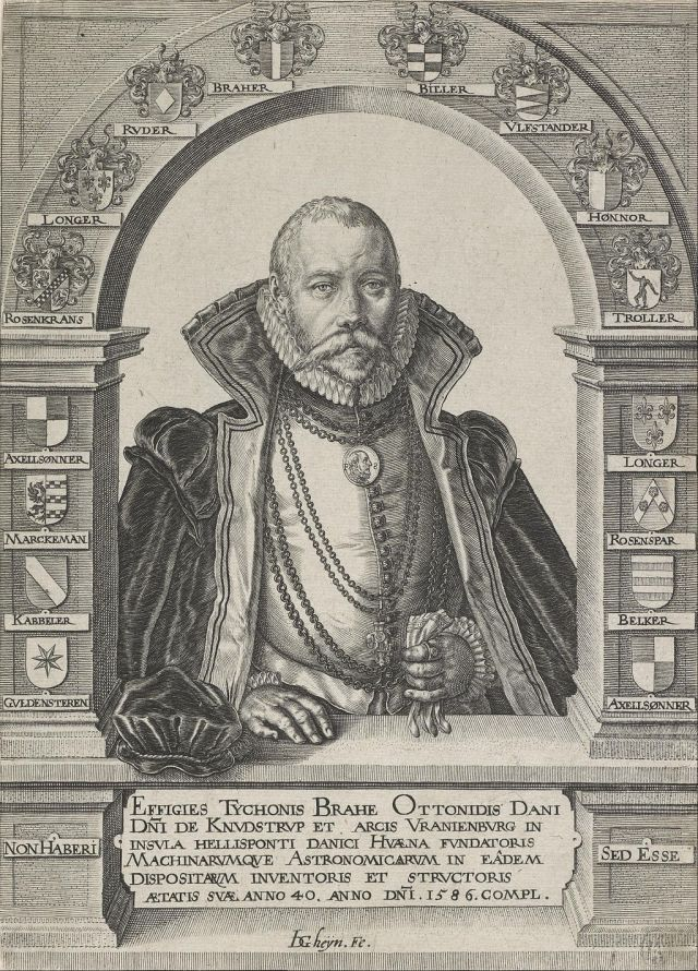 1586 portrait of Tycho Brahe framed by the family shields of his noble ancestors, by Jacques de Gheyn. Source: Wikimedia Commons