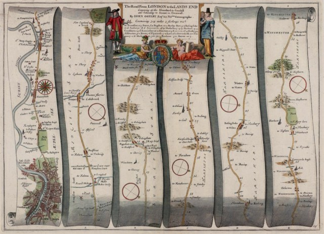 John Ogilby, The Road From London to the Lands End, 1675.