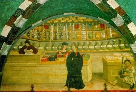 Fresco, early 16th century speziale, Castello di  Issogne, lower Aosta Valley, Italy.
