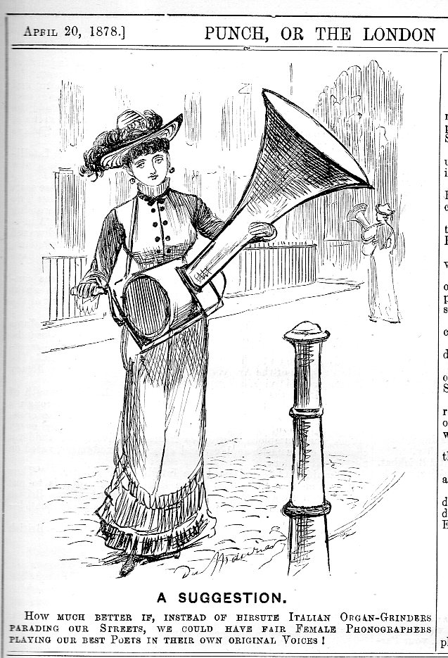 "An early ""alternative"" use for Edison's newly-invented phonograph (""Punch"", London, 1878) h/t John Ptak"