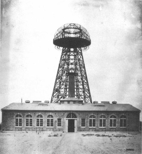 Tesla's Wardenclyffe plant on Long Island in 1904.  Source: Wikimedia Commons