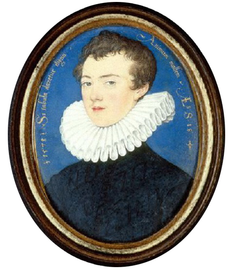 "The 18-year-old Francis Bacon. Inscription around his head reads: Si tabula daretur digna animum mallem, Latin for ""If one could but paint his mind"". National Portrait Gallery, Londonby Nicholas Hilliard, watercolour and bodycolour on vellum laid on card, 1578 Source: Wikimedia Commons"