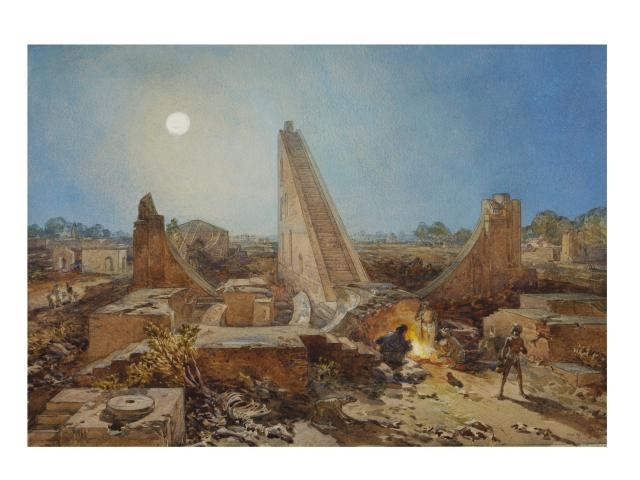 Ancient Observatory, Jantar Mantar, Delhi: William Simpson 1864 V&A Museum