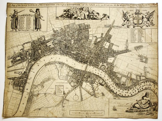 John Oliver's Map of London – circa 1680. Photograph: The London Map Fair