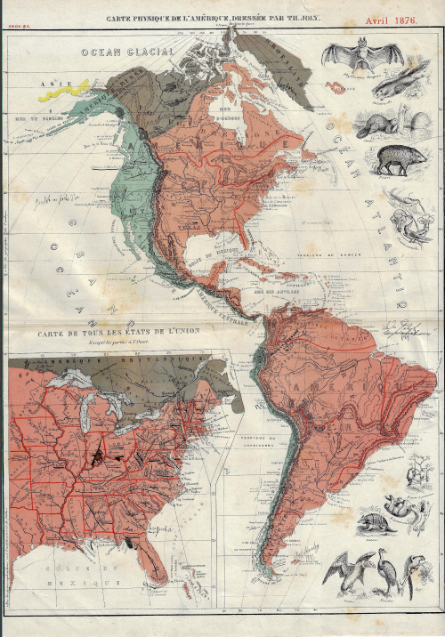 """Carte Physique de l'Amerique dressee par Th. Joly"", Avril 1876 Source: Ptak Science Books"